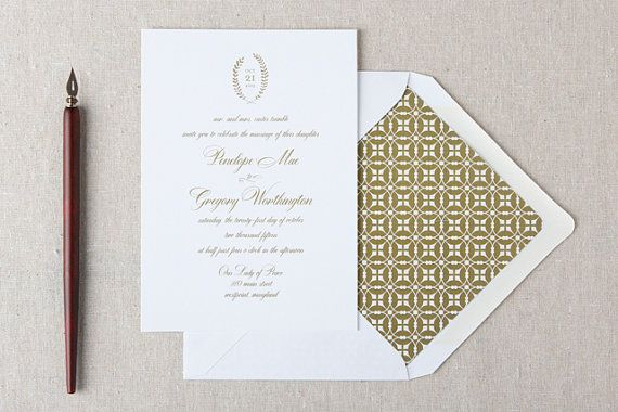 Melody Wedding Invitation in Antique Gold SAMPLE by ChelseyEmery