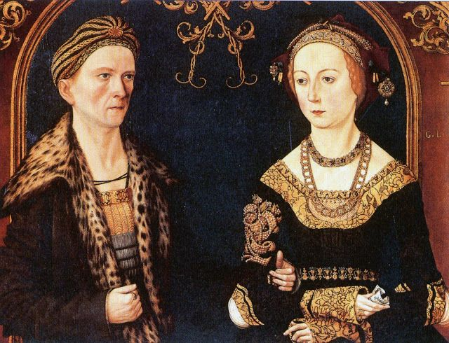 Wedding portrait from Jakob Fugger the rich and his wife Sibylla Artzt by  Thomas Burgkmair,1498