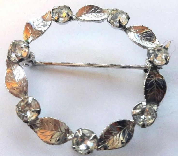 Vintage Sterling Silver Brooch Pin, Leaves, Round Cz's, Signed #LeGro