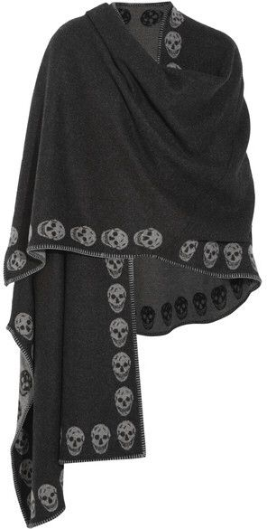 Alexander McQueen - Reversible Intarsia Cashmere Wrap - Charcoal