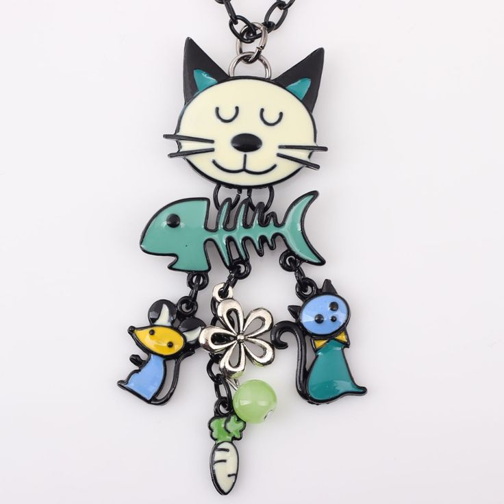 Colorful Enamel French Cat Necklace