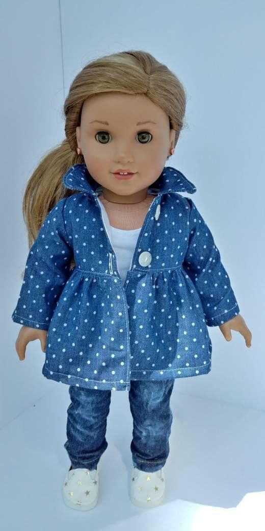 3cf45202a93d Handmade soft denim dot jacket.Fits 18 inch dolls. Topstitching detail and  buttons. Jacket only. Empire Peacooat has gathered waist. in the area   Coupon ...