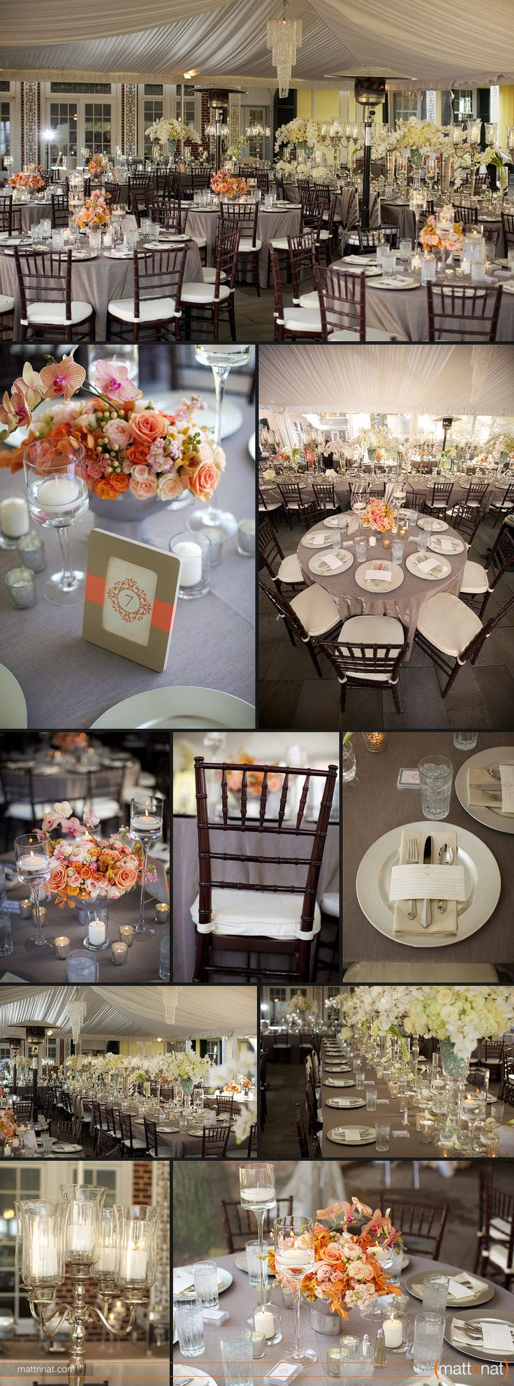 coral & taupe reception details, rose & orchid centerpieces, wedding reception, wedding photography