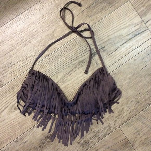 Multi-way Fringe bikini top Charcoal gray fringe bikini top that can be worn as a halter or bandeau. Built in lining pads. Only worn once! Swim Bikinis
