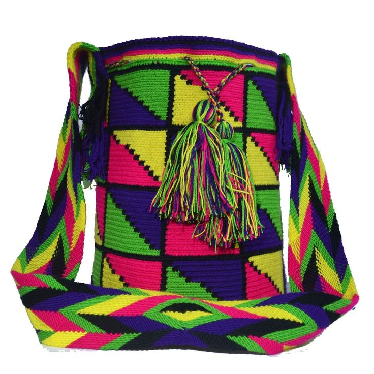 Wayuu Bag – Large Mochila – Design – 244  $85$  #wayuu #wayuumochila #wayuubag #wayuumochilabags #products #largebag #neonbag #design #handmade  https://wayuu-mochila-bags.com/shop/popular-wayuu-bags/design-large-wayuu-mochilas/neon/authentic-wayuu-large-mochila-bag-100-colombian-boho-hobo-finest-handmade-244/