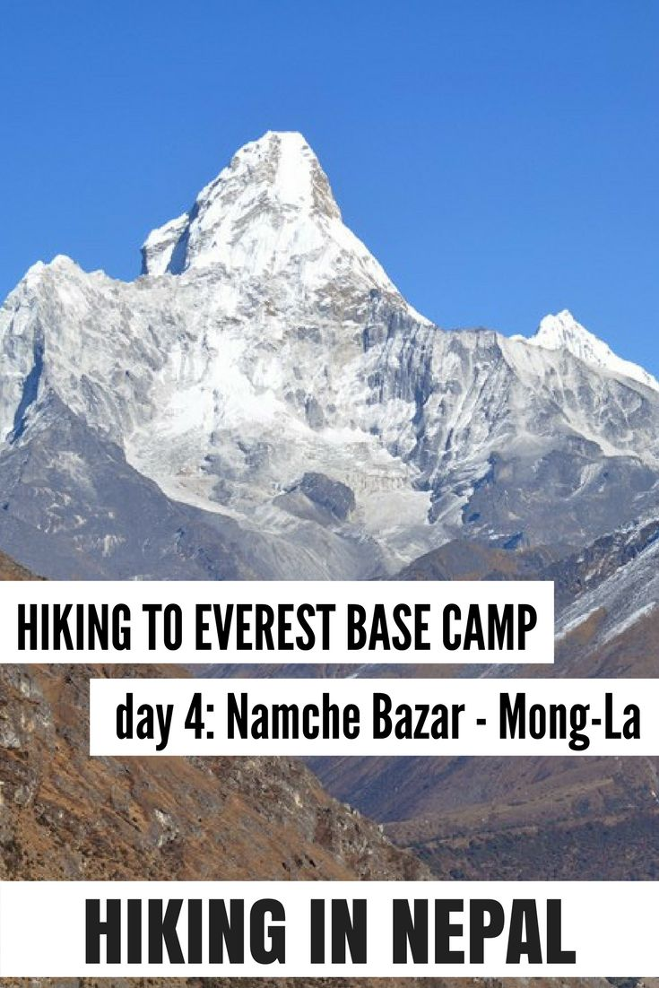 Hiking Mount Everest Base Camp Trek day 4: from Namche Bazar to Mong La with views of beautiful Ama Dablam Mountain. For more reading on hiking in Nepal visit my website!