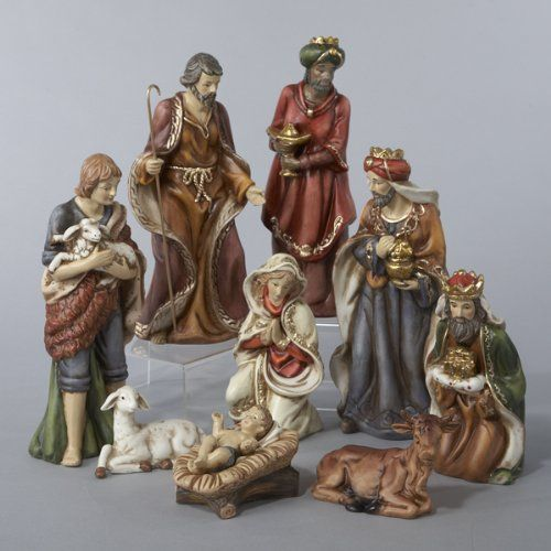 "$79.99-$99.99 9-Piece Classical Porcelain Christmas Nativity Figure Set - 9-Piece Christmas Nativity Set Item #J1213  This beautifully crafted classical Nativity set features understated shades of browns, reds, blues and greens 9-piece set includes: stable boy, Joseph, the Three Wise Men, lamb, Baby Jesus, Mary and a calf Approximate dimensions of tallest piece: 9""H Material(s): porcelain http://www.amazon.com/dp/B00595422I/?tag=pin2wine-20"