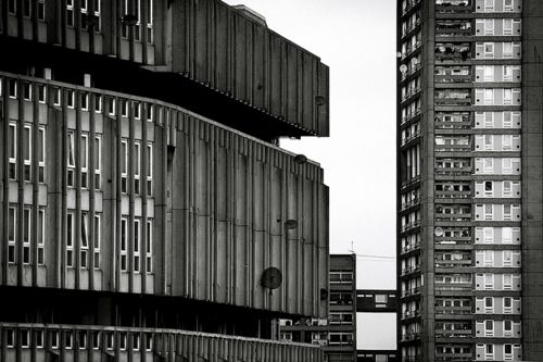 Robin Hood Gardens, Poplar, London E14. Alison and Peter Smithson. Built 1972. Date of photo unknown.