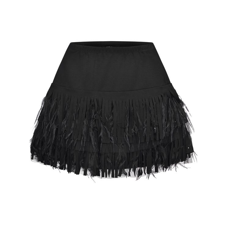Monnalisa Jakioo Girls Black Milano Skirt With Feathers