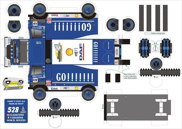 Truck Paper Model Papercraft | super kuka: Caminhão de Papel - Brinquedos de Papel - PaperToy
