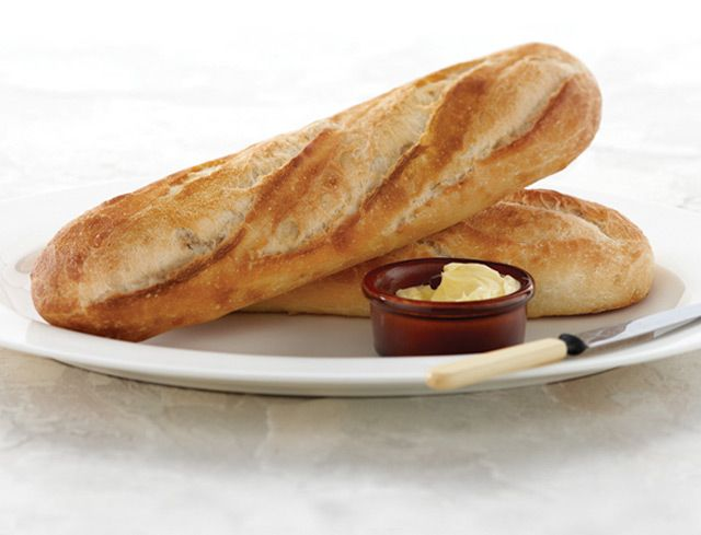 Bake Your Own™ White Demi-Baguette: Traditional French white baguette with a creamy, fully developed flavour and a perfectly crisp golden crust. Keep it in the freezer, and you'll always have a warm, fresh baguette in minutes.