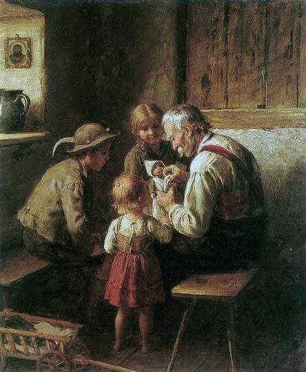 """Franz von Defregger (Südtiroler und Münchner Maler), """"Puppenreparatur"""", 1912. Enjoyed by www.mygrowingtraditions.com"""