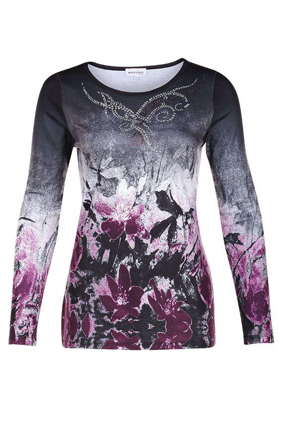 T-shirt imprimé en polyester et spendex brossé