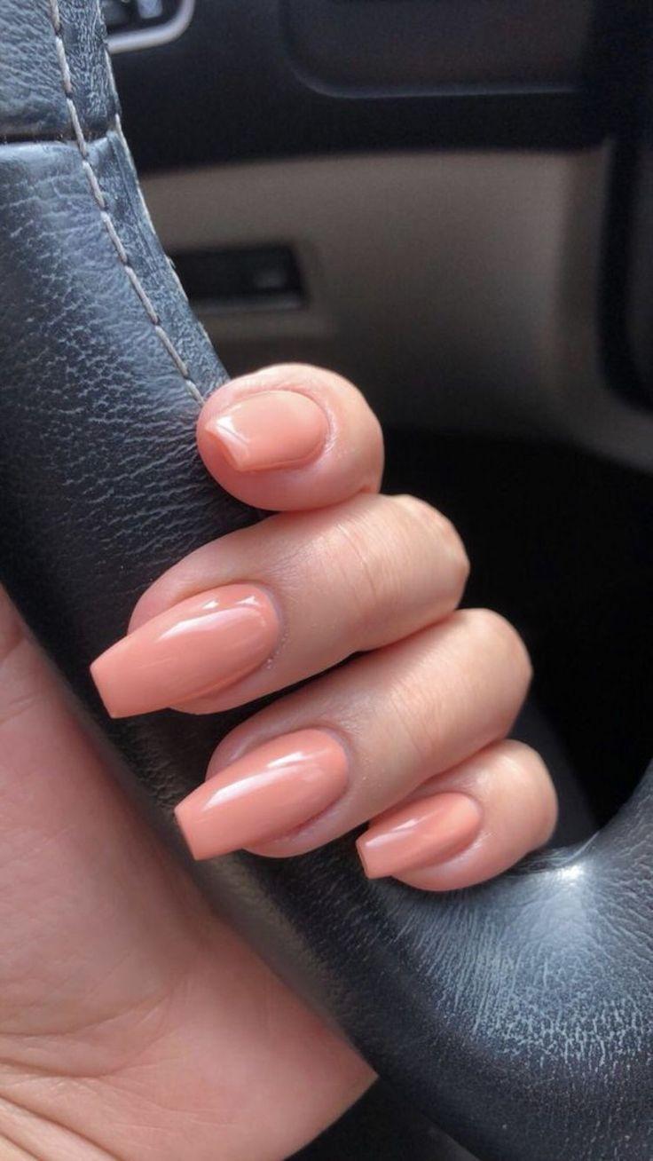 Women S Fashion Coffin Nails Short Coral Peach Acrylic Nails