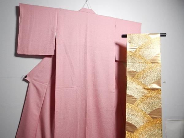絹 袋帯付 袷色無地2600