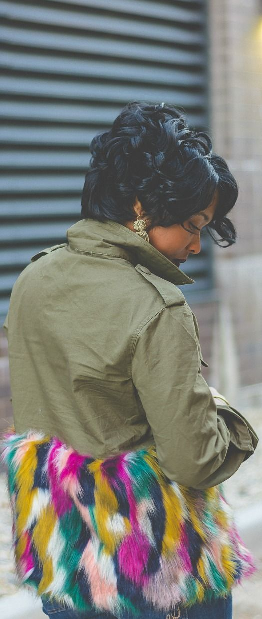 Fur jacket, army green, Cargo jacket, Booties, Express Denim, Distressed denim, Indy Blogger, Indy Style, Sweenee Style, Fur, pixie cut, relaxed hair