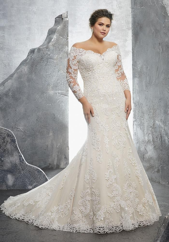 d2bbad18288 Elegant Plus Size Lace Mermaid Wedding Dresses with Long Sleeves ...