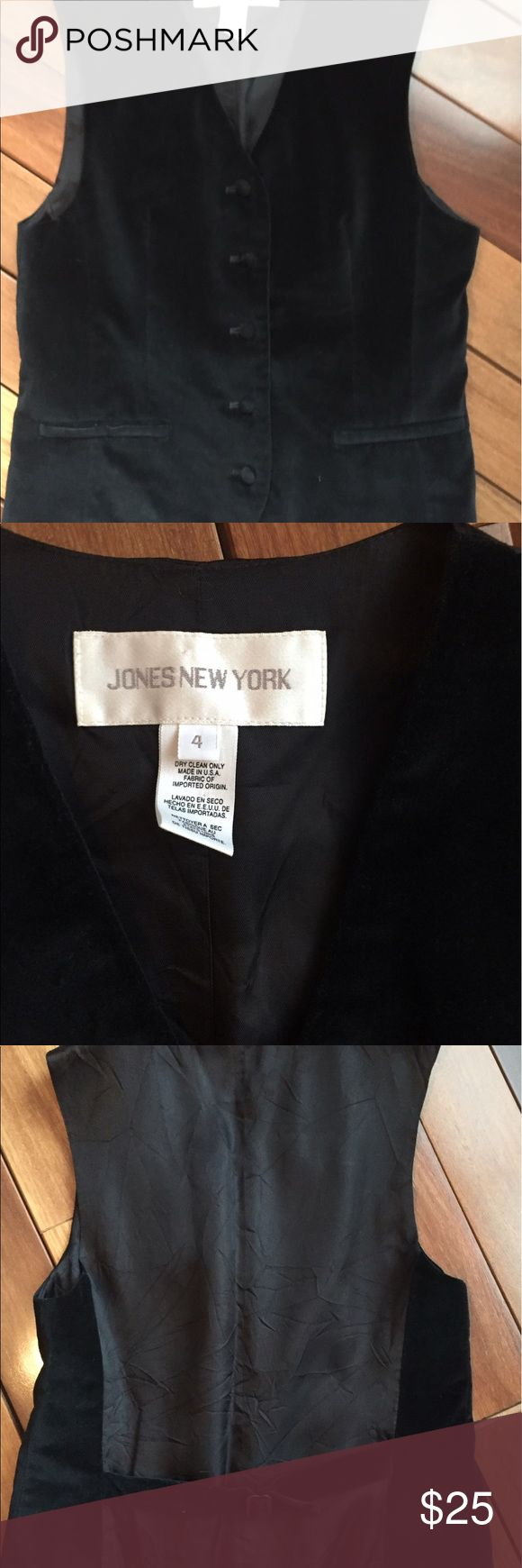 Jones New York velvet vest size 4 Velvet is in for the season girls! This great black vest is velvet in the front and sides but satin in the back so it still slides easily against your car seat for instance. Has a way to pull it in the back a little if desired for a more defined fit. Jones New York Jackets & Coats Vests