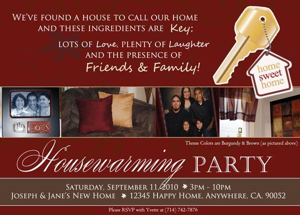 Housewarming invitations housewarming invitation of for Things to do at a housewarming party