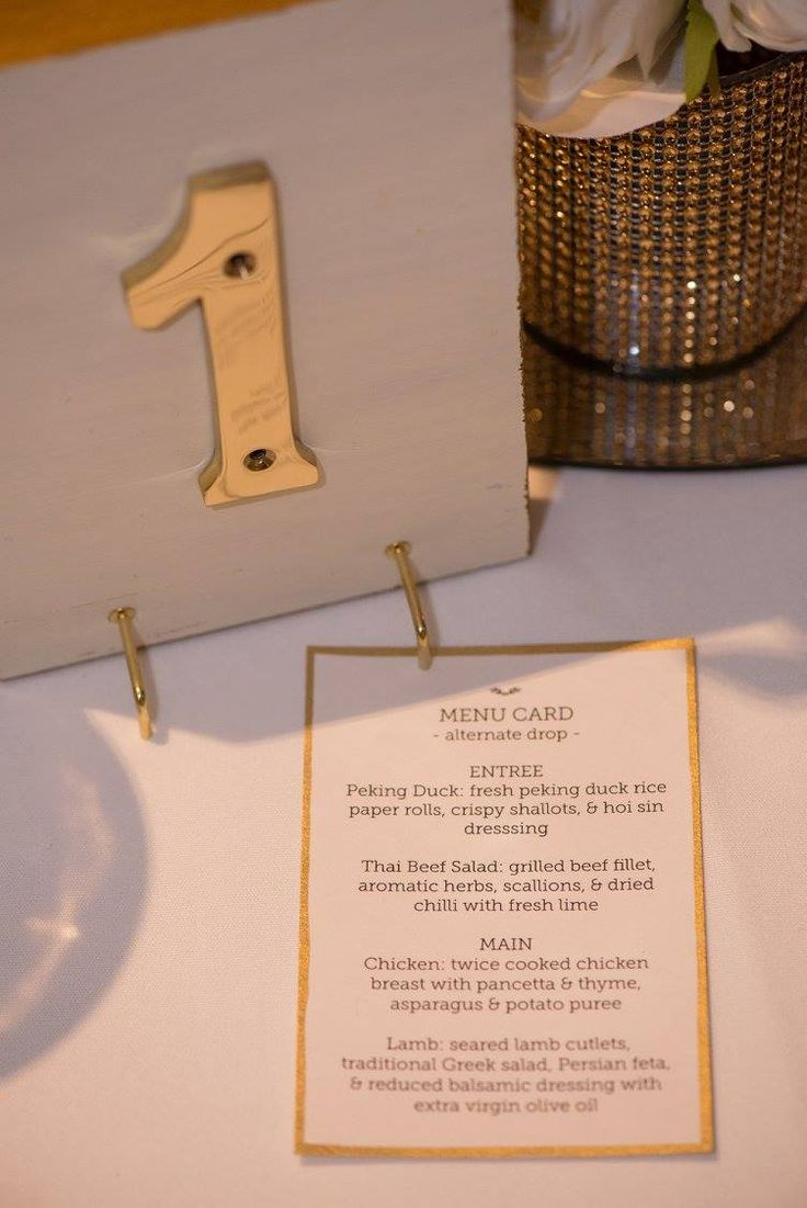 Table numbers and menu cards for our wedding