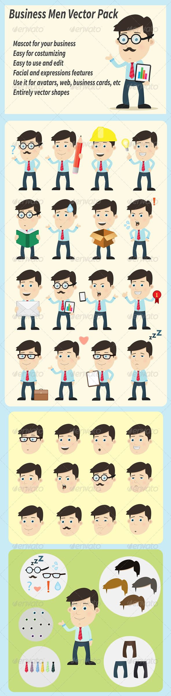 * Business Men Vector Pack  #GraphicRiver         Business Men Vector Pack! poses, facial expression and facial features, fully layered file, easy to use edit and customize!