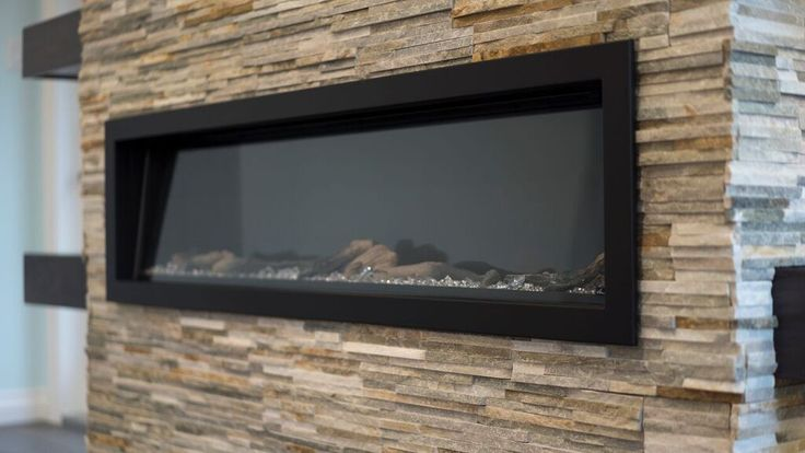 Ribbon fireplace with floating shelves #loveyourhome #buildwithharmony