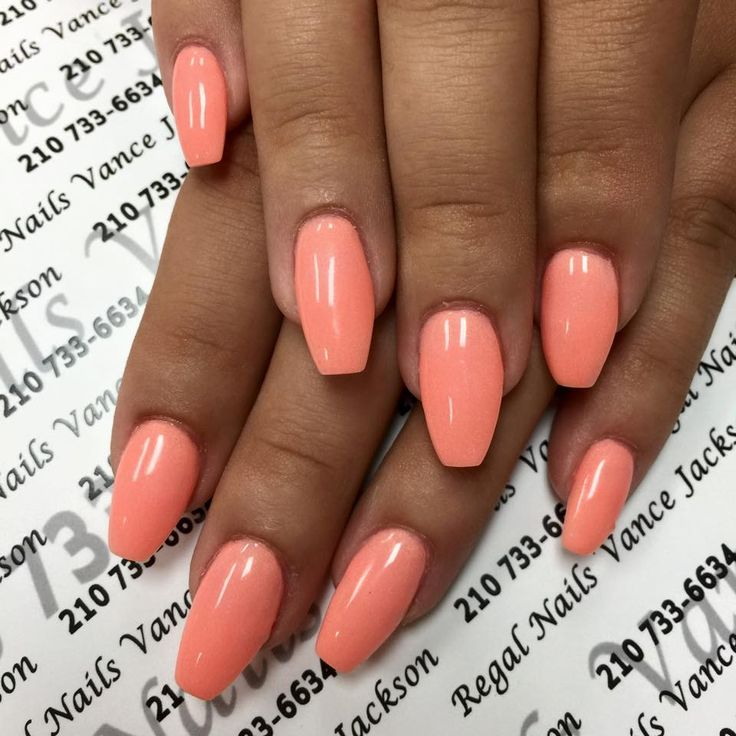 salmon nails, salmon nail polish, salmon manicure, coffin shape nails