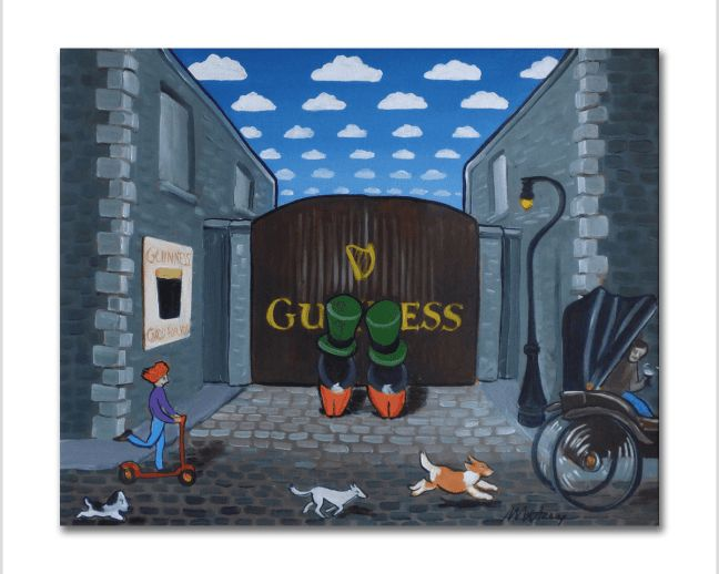 Image of some Irish guys dressed like leprechauns standing at a Guinness Brewery gate while dogs, a girl on a scooter and a carriage shoot by.