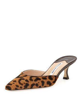 Women's Fashion High Heels :    Carolyne Leopard-Print Calf Hair Pointed Mule by Manolo Blahnik at Bergdorf Goodman. #manoloblahnikheelsbergdorfgoodman #manoloblahnikmules