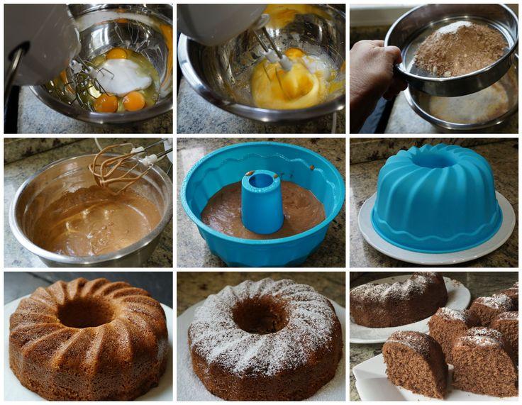 Preparación del bizcocho de chocolate al microondas