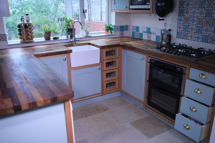 Douglas-fir, painted wood and brass fittings with iroko tops www.arborhouse.co.uk