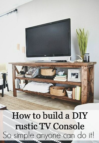 Diy rustic console table woodworking projects plans for Diy tv table