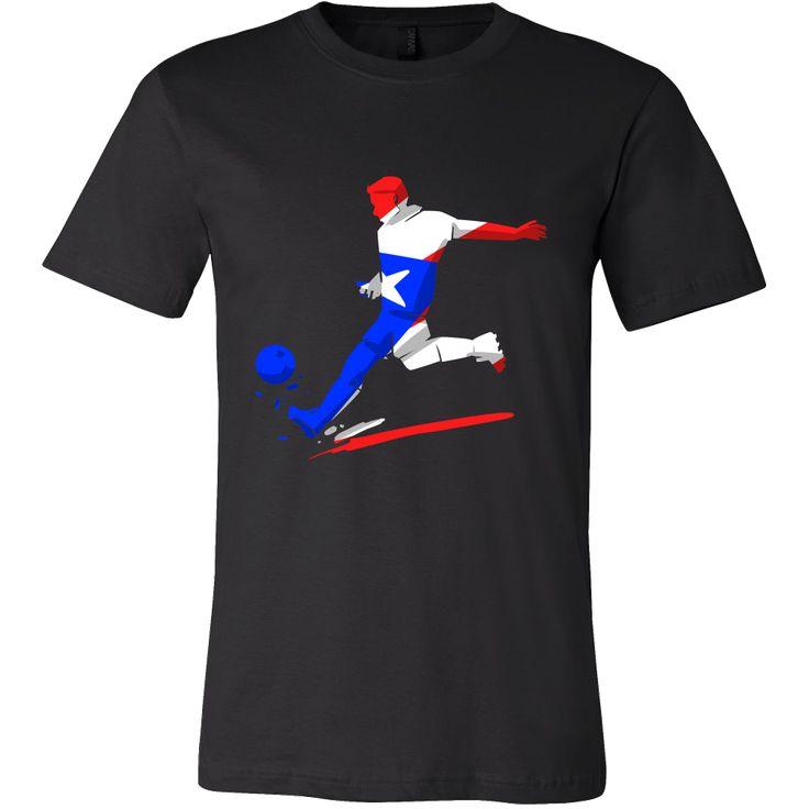 Colorful Soccer Flag Puerto Rico Tshirt
