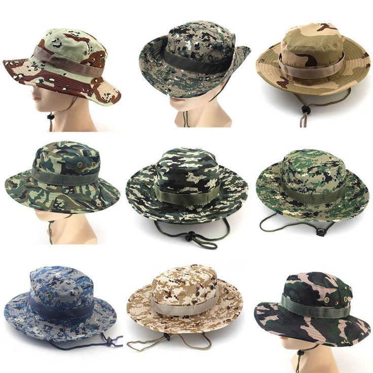 Camouflage Bucket Hats Wide Brim Sun Cap Ripstop Camo Fishing Hunting Hiking Men Safari Summer Jungle with String Boonie Hat