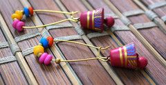 Colorful Terracotta earrings, shop at : www.craftsandlooms.com