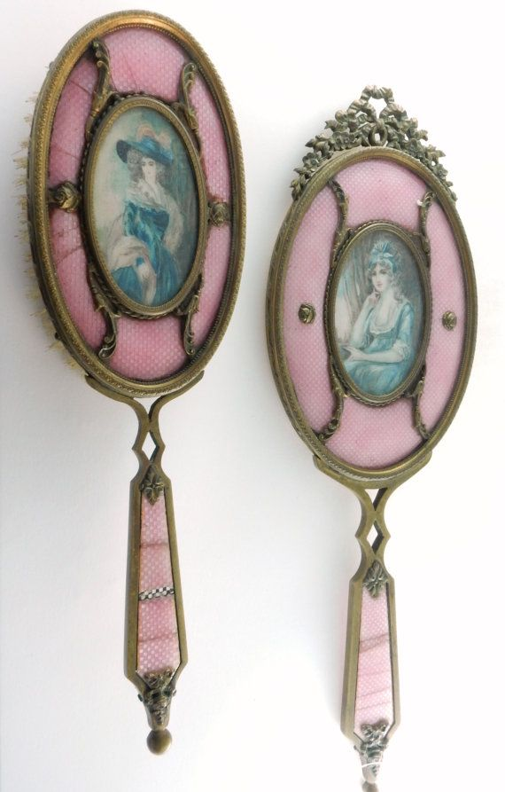 SOLD C.1900s French Guilloche,Vanity Set,Mirror and Brush,Guilloche Enamel, Antique Vanity,Victorian Dresser Set,, Perfect GIft