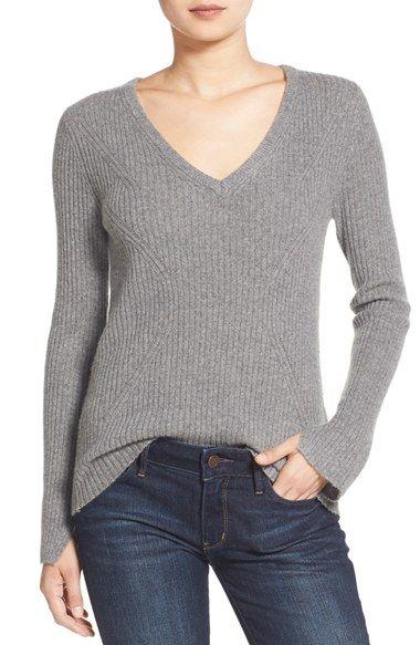 Velvet by Graham & Spencer Ribbed Cashmere V-Neck Sweater