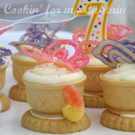 for Annemarie. tea cup cupcakes, cake in ice cream cones with cookie on bottom. licorice or round candy for handle.