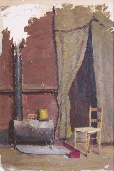 """Filadelfo Simi (Levigliani 1849 - Firenze 1923), """"Studio Simi"""". cartone di cm. 49 x cm. 31, non firmato Sul retro del dipinto Il ciociaro, in cui è raffigurato un ragazzo in costume, è riprodotto lo studio Simi di Via dei Tintori a Firenze (oggi Via Tripoli):"""