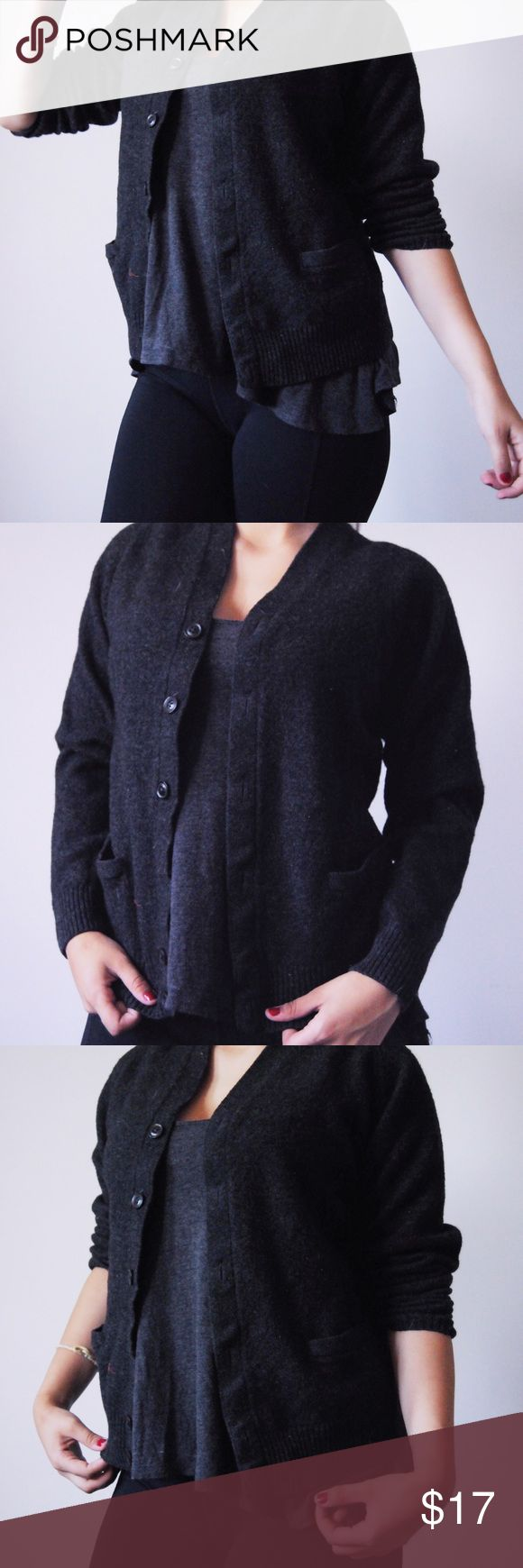 🌙Charcoal Grey Uniqlo Cardigan🌙 ✨This Uniqlo cardigan is made of wool and the dark color is flattering to anybody!!✨ Matches with almost everything :) Looks good paired with dresses and crop tops in the summer, as well as with jeans and boots when it's colder💕 🌸Size L but fits smalls and mediums very well🌸 🌼Buttons go all the way up past chest (as seen in photo)🌼 🌿Barely worn!🌿  🌺I can negotiate for reasonable offers :)🌺 UNIQLO Sweaters Cardigans