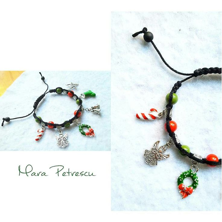 Red and green handmade Christmas shamballa bracelet 🎄❤