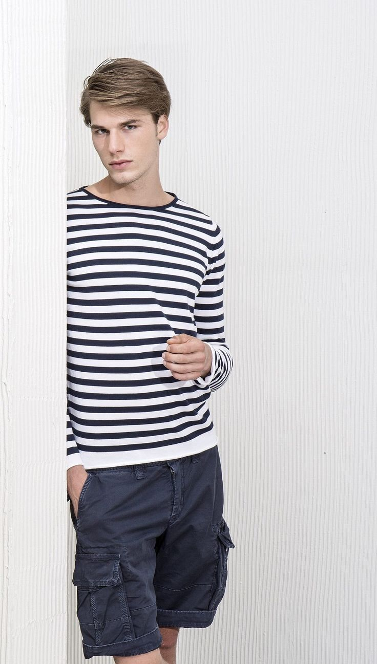 Get your daily Summer outfit with #AlphaStudio sailor jumper!!   #SS2015 #knitwear #menswear #menstyle #mensfashion #fashion #stripe #sailor #jumper #pull #florence #gauge #glamour #yarn #style #stylish #stylishoutfit #outfitoftheday