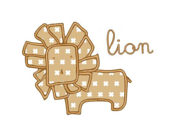 Lion Applique Machine Embroidery Design Instant Download