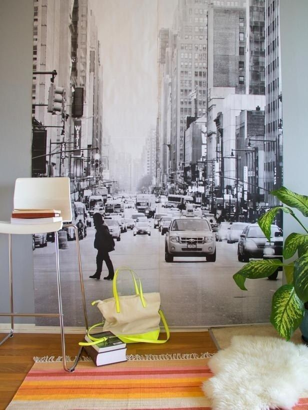 Make a wall paper mural. | 37 Ingenious Ways To Make Your Dorm Room Feel Like Home