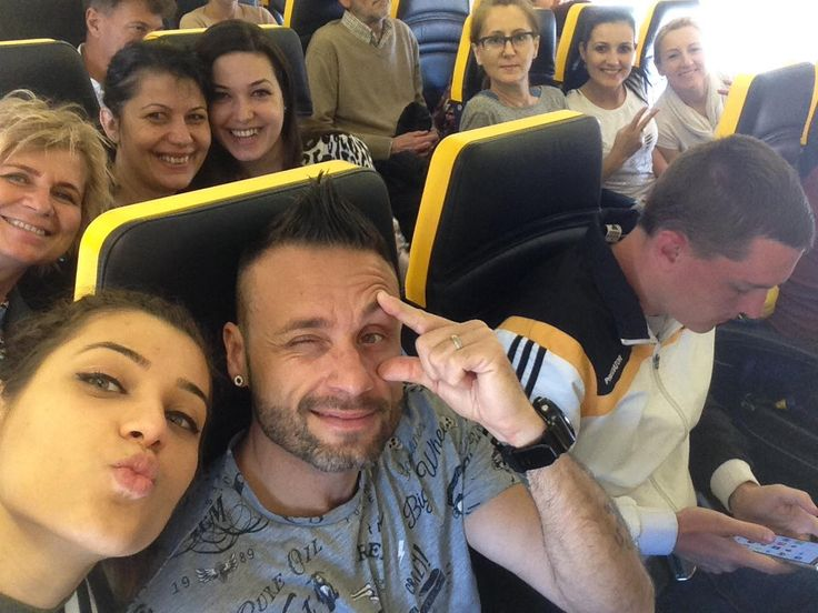 When you #travel , travel with some #friends. Everything will get #crazy ! #Bucharest #airplane #traveltips #together #urbhanize #dance #fitness