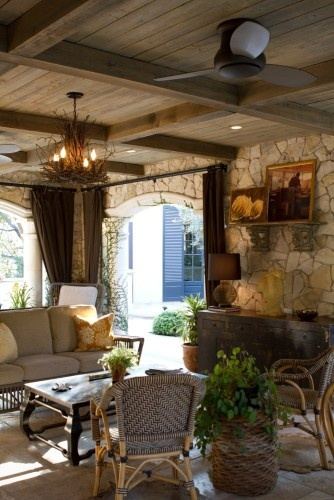 by Charmean Neithart Interiors, LLC.: Idea, Living Rooms Design, Outdoor Rooms, Stones Wall, The Angel, Outside Patio, Traditional Living Rooms, Outdoor Living Rooms, Outdoor Spaces