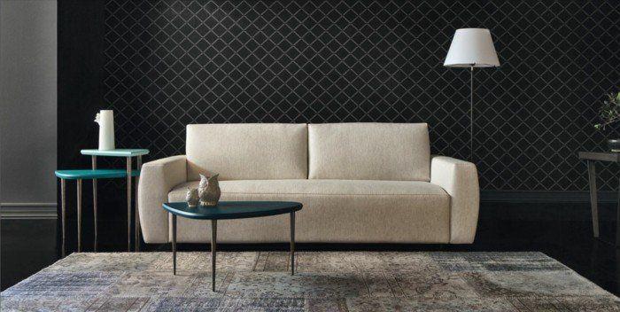 canapé design italien de couleur beige, joli salon avec meubles italiens