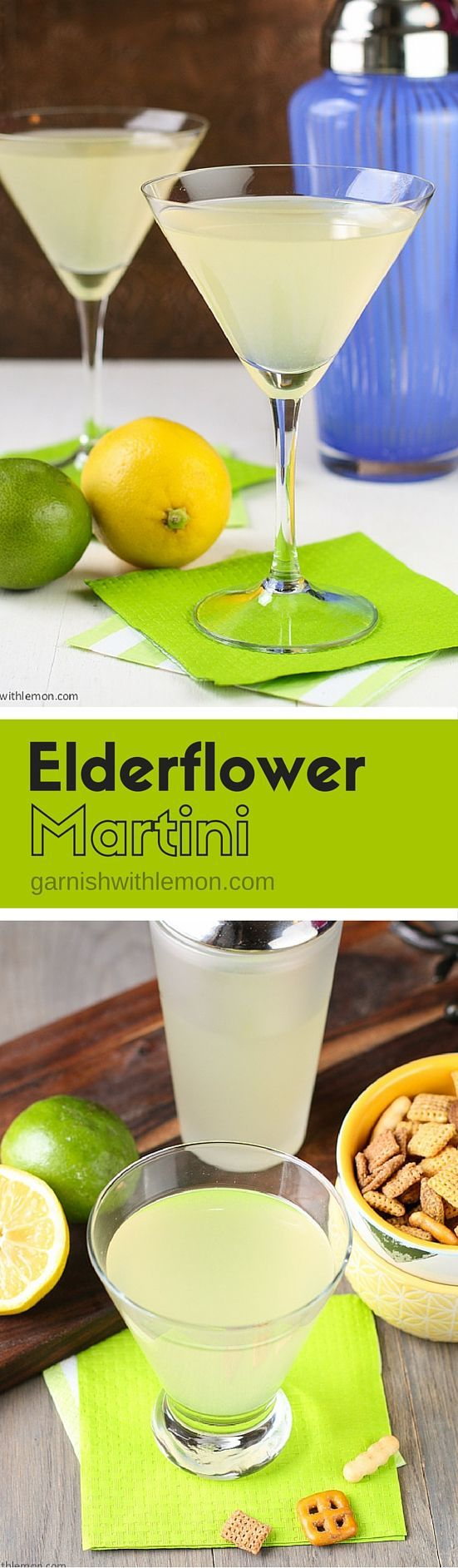 This Elderflower Martini - made with gin, vodka & St. Germain Liqueur - is one of our most requested #cocktail #recipes. Make it batch style for groups! ~ www.garnishwithle...