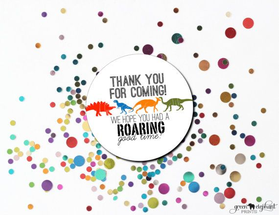 Dinosaur Party Favor Thank You Tag INSTANT DOWNLOAD