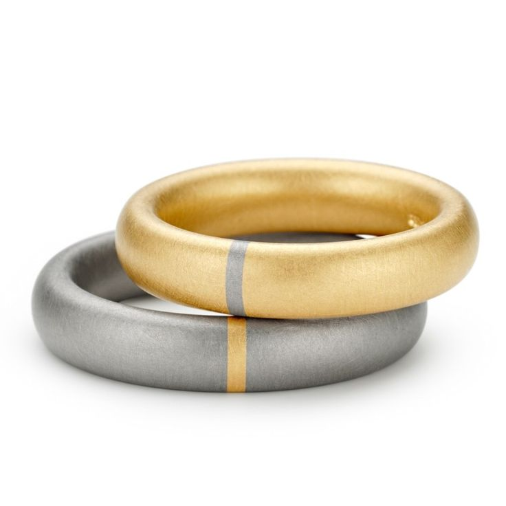 ORRO Contemporary Jewellery Glasgow - Niessing - Tecum 1mm Segment Wedding Rings - Yellow Gold - Grey Gold - Wedding bands